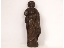 Small sculpture statuette wood carved character Saint Peter XVII