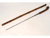 Blade system sword cane signed Solingen 19th century bamboo barrel