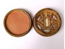 Round reliquary paperolle Saints Virgin Cross Agnus Dei 19th century wood case