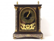 Religious clock blackened wood Boulle Raingo Brothers 19th century bronze marquetry