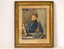 Watercolor portrait herbalist G. du Perier de Larsan 1820 XIXth century