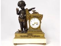 Large bronze pendulum cherub bird rams Denière Paris Napoleon III 19th
