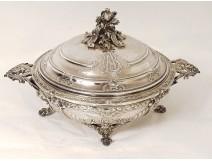 Solid silver vegetable Minerva goldsmith Fray-Harleux 2035gr nineteenth monogram