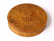 Round walnut box Henri IV Sully Relevez vous Rosny nineteenth theater piece