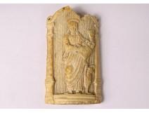 Ivory bas-relief plaque carved apostle Saint-Jean evangelist eagle XVIth