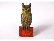 Small polychrome Vienna bronze sculpture owl 19th century book