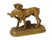 Bronze sculpture Alfred Dubucand dog hunting animal hare nineteenth century