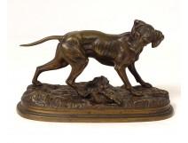Bronze sculpture Jules Moigniez dog hunting pheasant animal nineteenth century