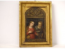 HSP icon painting Saint Lucia Saint Francis of Assisi Italian school XIXth
