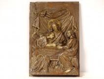 Carved panel bas-relief Jesus Christ pilgrims disciples Emmaüs XIXth
