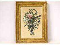 Watercolor bouquet flowers romantic golden frame garlands Empire nineteenth