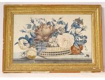 Watercolor still life basket bouquet flowers butterfly golden frame nineteenth