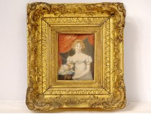 Miniature painting portrait woman dog golden frame Napoleon III nineteenth