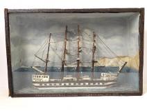 Model diorama boat 4 masts English ship The Kate Thomas 1871 nineteenth