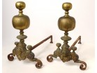 Pair of andirons called Aux Marmousets brass busts women XVIIth century