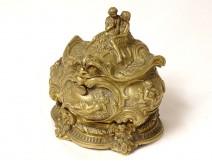 Louis XV rococo inkwell box gilded bronze women angels Allegory XVIIIth