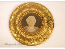 Round frame miniature carved gilt 18th