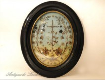 Work reliquary Hair Oval Frame blackened wood NAPIII 19th