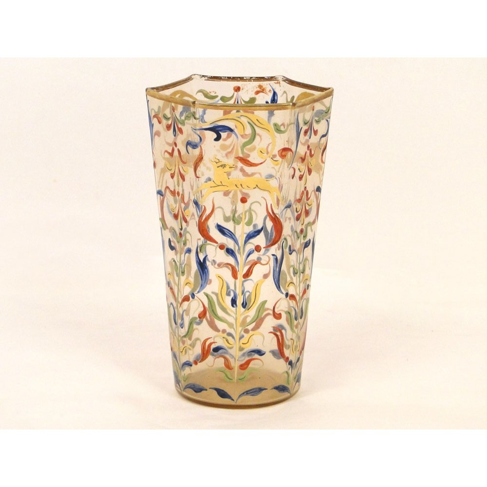 vase en verre souffl maill de nevers d cor de chiens. Black Bedroom Furniture Sets. Home Design Ideas