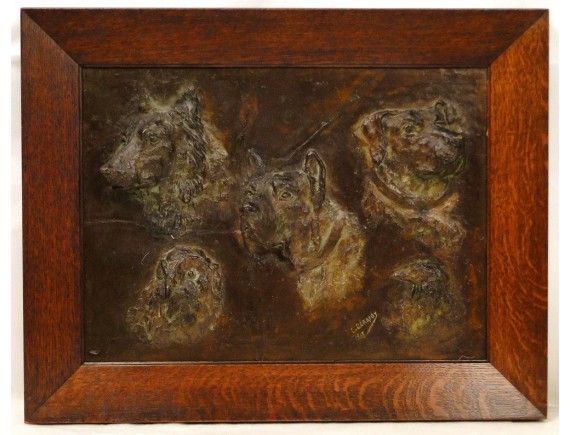 Table Bas Relief Dogs And Birds Louis G 233 Rardy 1918