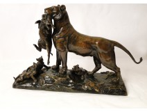 Lioness Cubs bronze sculpture Auguste Cain Susse Frères Paris 19th