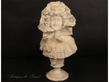 Alabaster bust sculpture girl Cipriani Art Nouveau 19th