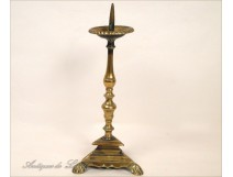 Picnic bronze candlestick candle Haute Epoque 16th