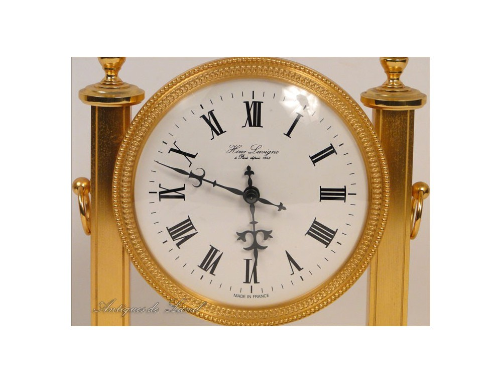 Clock Gilt Bronze Columns Hour Lavigne Paris 20e