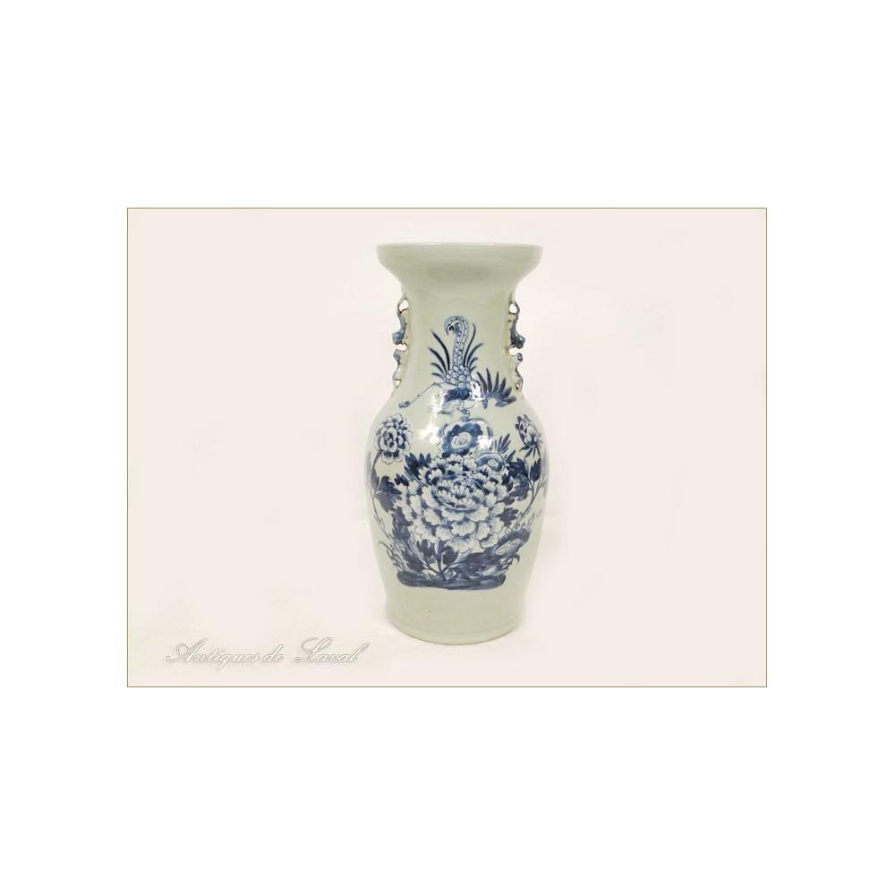grand vase en porcelaine blanc bleu chine oiseaux 19e ebay. Black Bedroom Furniture Sets. Home Design Ideas