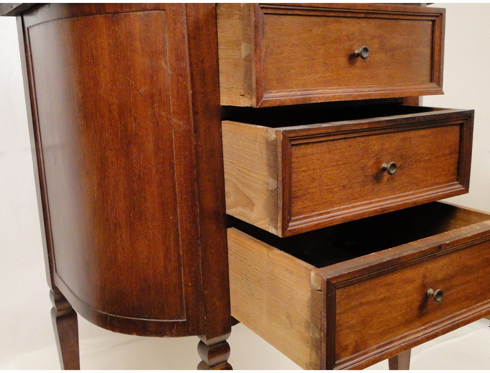 Small chest of drawers bedside table louis xvi mahogany for Small bedside chest of drawers