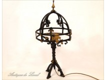 Wrought Iron Lamp Fleurs de Lys 20th