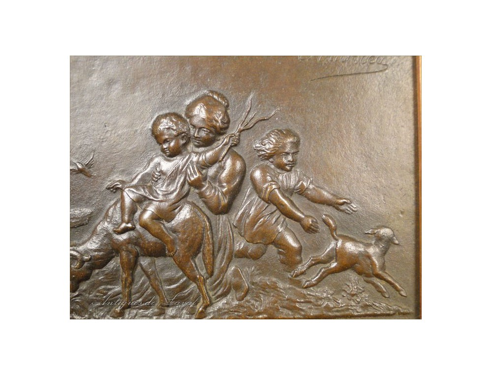 Bas Relief Bronze Sheep Dog Female Children 19th