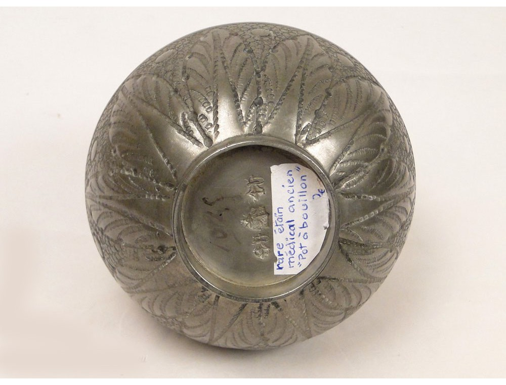 Medical Pot Soup Tin Punch Flowers 19th