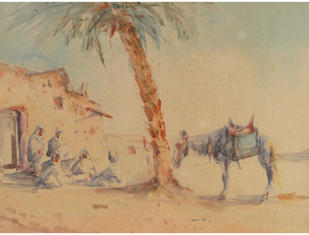 Pair Of Orientalist Paintings With Desert Landscape And