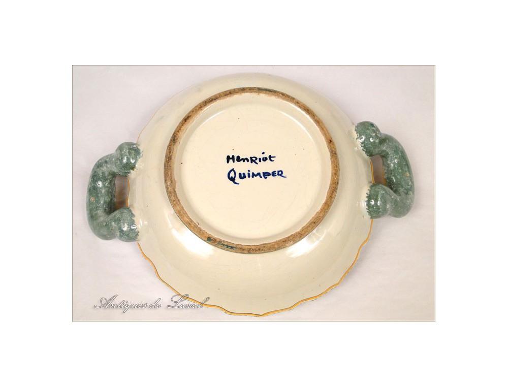 Henriot Quimper Pottery Piggy Bank Breton Coat Shell 20th
