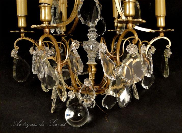 Lustre pampilles en cristal et bronze dor xixe ebay - Lustre a pampilles cristal ...