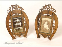 Pair of carved wooden frames straw marquetry Bird 19th