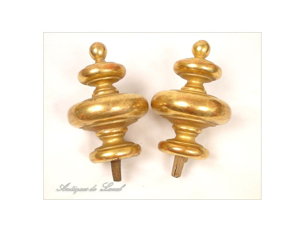 Pair Of Gilded Wood Decorative Curtain Tiebacks 19th