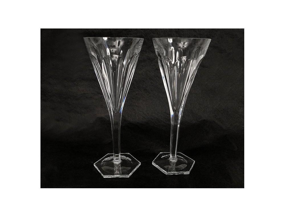 Pair of crystal stemware cut crystal baccarat france 19th - Baccarat stemware ...