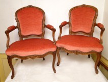 Pair of Louis XV armchairs stamped eighteenth