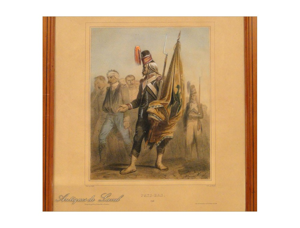Soldier Lithography Prosonniers Netherlands 19th 1795