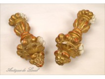 Elements pair of gilt decoration curtain tiebacks 19th