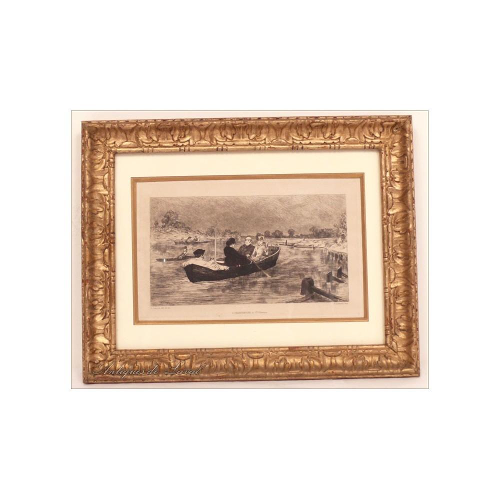 gravure personnages barque cadre bois dor sculpt 19e ebay. Black Bedroom Furniture Sets. Home Design Ideas
