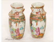 Pair of Porcelain Vases 19th Canton NAPIII