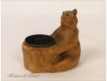 Empty-pocket Black Forest Bear Carved Wood 19th