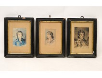3 Portraits Watercolor Wash Wood Frame Blackened Gold Pavada 19th