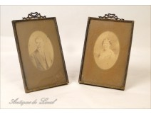 Pair Brass Frames Photo Holder Gold 19th