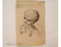 Charcoal Portrait Drawings 19th Young Boy Child