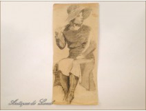 Study Sketch Drawing Woman Hat Colarossi 20th