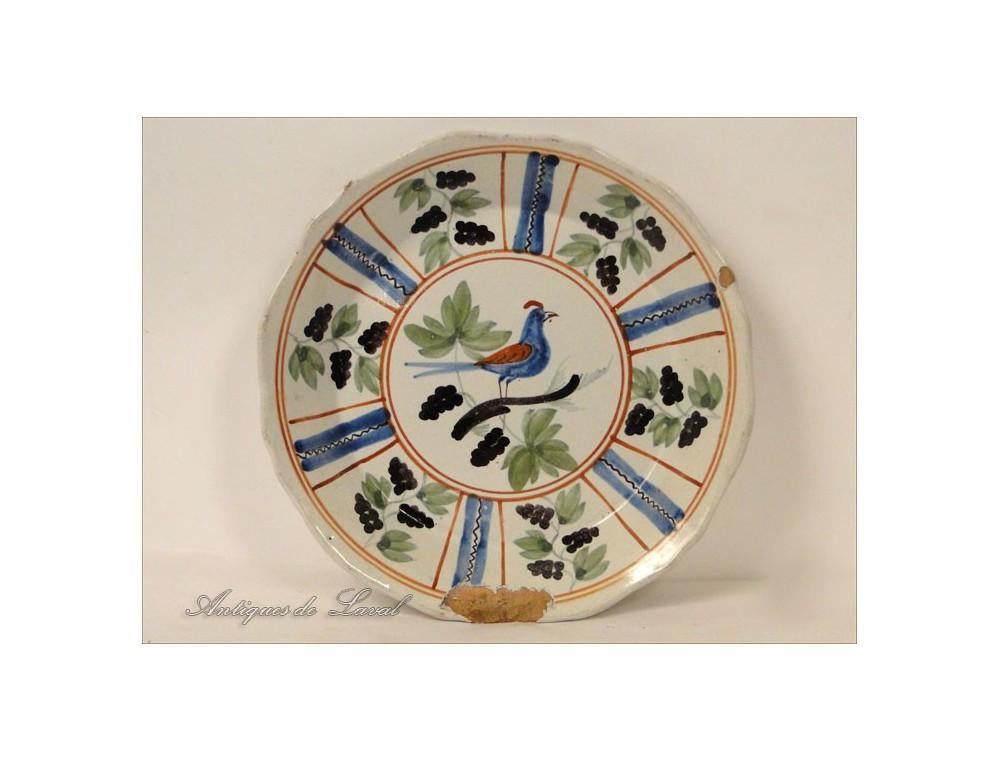 Earthenware Plate Nevers 18th La Rochelle Bird